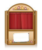 Punch and Judy Booth Brown Closed Curtain — Stock Vector