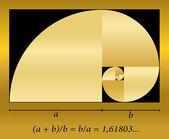 Golden Cut Spiral Formula — Stock Vector