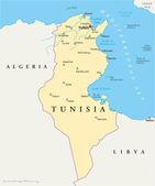 Tunisia Political Map — Stock Vector