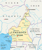 Cameroon Political Map — Stockvektor