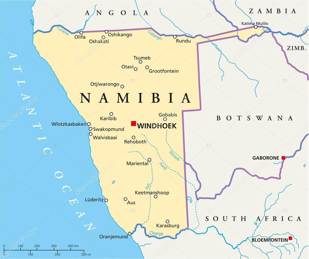 Namibie Carte De Capital