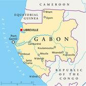 Gabon Political Map — Vetorial Stock