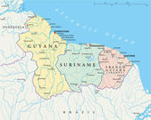 Guyana, Suriname and French Guiana Political Map — Vector de stock