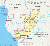 Republic of the Congo Political Map — Vettoriale Stock