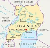 Uganda Political Map — Stock Vector