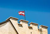 Austria Flag on Salzburg Castle — Stock Photo