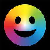 Rainbow Color Gradient Smiley Black — Stockvektor