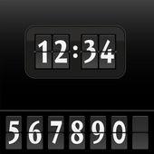 Digital Dial Clock Face Black — Stock Vector