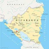Nicaragua Political Map — Stock Vector