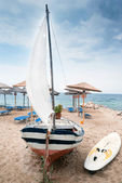 Traditional fishing boat at Chalkidiki Greece — Stock Photo