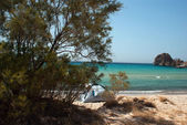 Small tent at the beach on Sifnos island, Greece — Stock Photo