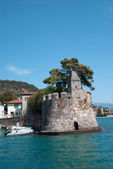 Nafpaktos Greece,port side lighthouse closeup Central Greece — Stock Photo