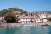 Traditional fishing boats in main port of Nafpaktos, Greece — Stock Photo