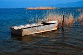Traditional fishing boat on lake Doirani Greece — Foto de Stock