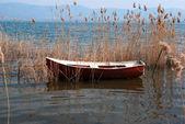 Traditional fishing boat on lake Doirani Greece — Stock Photo