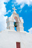 Belfry at blue sky on Mykonos island, Greece — Stock Photo