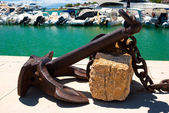 Anchor rest for decoration on a marina — Stock Photo