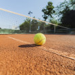Stock Photo: Tennis ball on clay court