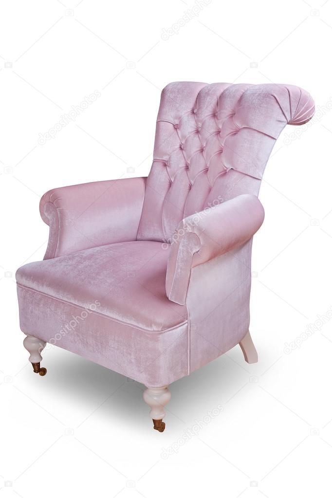 Light pink velvet vintage armchair on white background ...