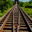 Beautiful Converging Lines of  the Rails of an Old Railroad Trestle with an Old Iconic Iron Truss Bridge — Stock Photo