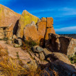 Stock Photo: Amazingly Large Granite Boulders with Yellow Lichen on Enchanted Rock, Texas.