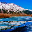 Stock Photo: Colorful Panoramof Partially Frozen Lake with Mountain Range Reflected in Great AlaskWilderness.