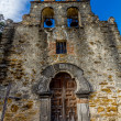 The Ornate Bell Tower and Entrance to the Historic Church Old West Spanish Mission Espada, Texas. — Stock Photo