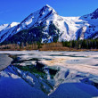 Partially Frozen Lake with Mountain Range Reflected in the Great Alaskan Wilderness. — Foto de Stock