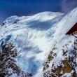 Aerial View of Cloud Bespectacled Blue Ice Snow Pack on Mountain Top in Alaskan Wilderness, Denali National Park, Alaska. — Stockfoto