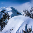 Stock Photo: Aerial View of Heavily Snow Capped Craggy Rugged AlaskMountains in Denali National Park, Alaska.
