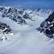 Stock Photo: Aerial View of Head Waters of Glacier in Rugged AlaskMountains in Denali National Park, Alaska.
