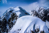 Aerial View of Heavily Snow Capped Craggy Rugged Alaskan Mountains in Denali National Park, Alaska. — Foto de Stock
