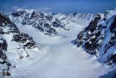Baş suların içinde denali milli parkı, alaska, alaska dağların buzul havadan görünümü. — Stok fotoğraf