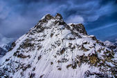 Aerial View of a Craggy Rugged Alaskan Mountain Peak in Denali National Park, Alaska. — Stock Photo