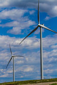 Two Huge High Tech Industrial Wind Turbines Generating Environmentally Sustainable Clean Electricity in Oklahoma. — Stock Photo