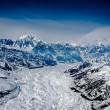 Aerial View of a Craggy Snow Covered Alaskan Mountain Range — Stock Photo