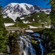 View of Myrtle Falls with Wooden Bridge on Snow Capped Mount Rainier — Stock Photo