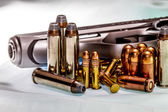 Semiautomatic Pistol, Stainless Steel, with various ammunition — Stock Photo