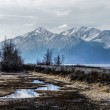 Stockfoto: Misty Alaskan Mountains with Train Tracks Following the Turnagain Arm.