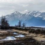 montagnes brumeuses d'Alaska avec les rails du train après le bras de turnagain — Photo