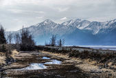 Misty Alaskan Mountains with Train Tracks Following the Turnagain Arm. — Stock Photo