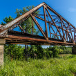 Interesting View of Old Iconic Iron Truss Railroad Bridge Over Brazos River, Texas. — Stock Photo #31047071