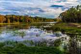 Beautiful Mesmerizing Reflections of Amazing Clouds on Colorful Creekfield Lake, Texas. — Stock Photo