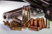Concept Shot for Concealed Handgun, Ammo, Ammunition, Rights, Target Shooting, and the Gun Industry. — Stock Photo