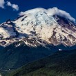Stock Photo: Wide Angle View of Snow Capped Mount Rainier