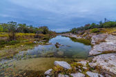 Cyprus Trees with Stunning Fall Color Lining a Crystal Clear Texas Hill Country Stream. — Stock Photo