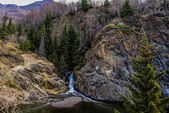A Snow-melt Waterfall Near the Seward Highway (1) not far from Anchorage, Alaska. — Stock Photo