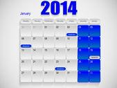 Calendar design January — Stock Vector