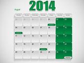 Calendar design August — Stock Vector