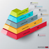 Abstract 3d pyramid infographics — Vector de stock